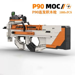 1:1 Weapon Scale Model, FN P90 Submachine Gun MOC Custom Compatible Building Blocks Bricks, CS:GO P90 Asiimov Skin, DIY Shootable Toy Gun, P90 Building Bricks Assemble Set Kit.