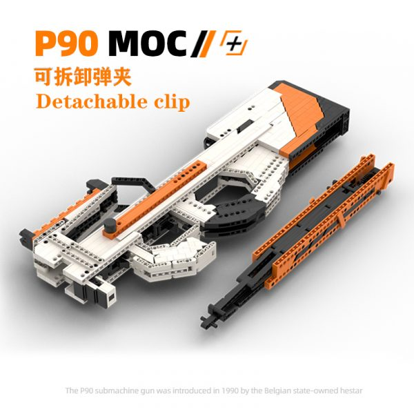 1:1 Weapon Scale Model, FN P90 Submachine Gun MOC Custom Compatible Building Blocks Bricks, CS:GO P90 Asiimov Skin, DIY Shootable Toy Gun, P90 Building Bricks Assemble Set Kit.