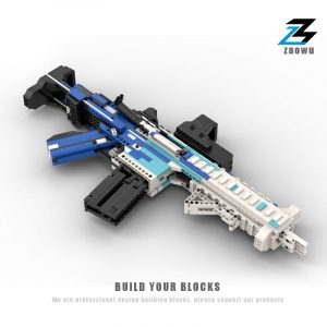 Ice Front Camouflage Working HK416-C Assault Rifle Building Block Gun, The Newest MOC Custom Idea of This Year, The Best Compatible Bricks Weapon Design, Step by Step DIY Assemble HK416-C Assault Rifle Building Block Parts To Build Real shooting Gun.