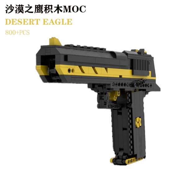1:1 Scale Workable Building Blocks Desert Eagle Pistol, How to Build Desert Eagle Gun With MOC Custom Compatible Bricks, DIY Build Your Real Toy Gun, And Know the Construction Principle of the Semi-automatic Pistol. (Very cool color combination, Yellow inlaid black)